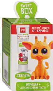 Splat Kids Sweet Box Зубная паста детская и Игрушка зверята Сафари 20мл