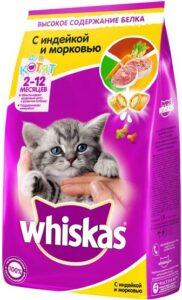 Whiskas кошачий корм для Котят с Индейкой и Морковью пак. 350гр