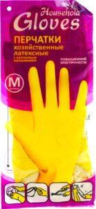 Household Gloves перчатки хозяйственные М Латексные 1шт