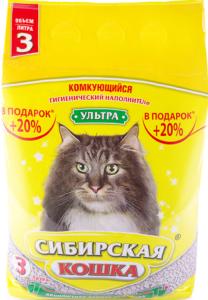 Сибирская Кошка наполнитель Комкующийся Ультра 3л