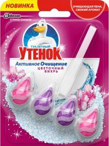 Туалетный Утёнок подвесной очиститель Капельки Цветочный вихрь 39гр