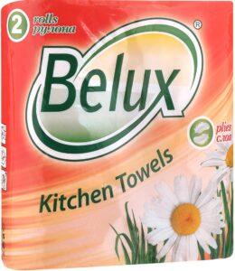 Belux Полотенца бумажные с Перфорацией Белые 2х слойные 2шт