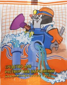 КРОТ Санитарный средство для растворения загрязнений канализационных труб сухой 90гр
