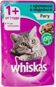 Whiskas кошачий корм с Кроликом и Индейкои в рагу 85гр