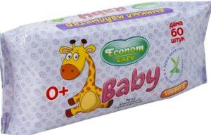 Econom Care влажные салфетки для детей с экстрактом алоэ веры 60шт
