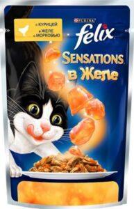 Felix Sensations кошачий корм с Курицей и Морковью в желе 85гр