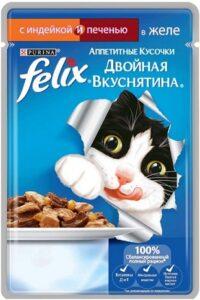 Felix кошачий корм с Индейкой и Печенью в желе 85гр