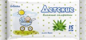 Аромика Влажные Салфетки Детские с Алоэ 15шт