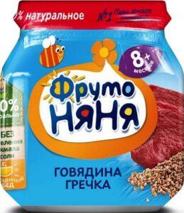 Фруто Няня пюре Говядина с гречкой 8+ банка 100мл