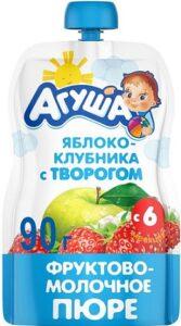 Агуша Я Сам Пюре фруктово-молочное Яблоко-Клубника-Творог 90мл