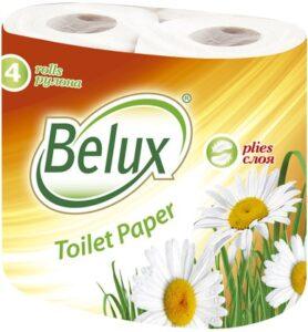 Belux Туалетная бумага Белая 2х слойная 4шт