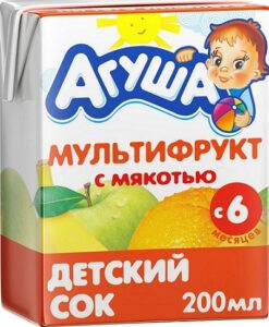 Агуша Сок детский Мультифрукт с мякотью 200мл