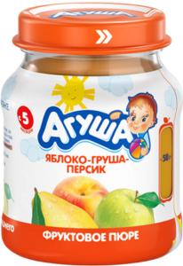 Агуша Пюре фруктовое Яблоко Груша Персик банка 115мл