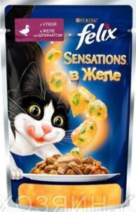 Felix Sensations кошачий корм с Уткой со Шпинатом в желе 85гр