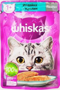 Whiskas кошачий корм с Индейкой и Кроликом паштет 85гр