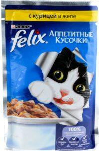 Felix кошачий корм с Курицей в желе 85гр
