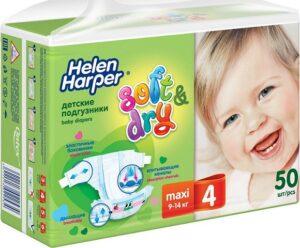 Helen Harper подгузники Детские Soft&Dry Maxi №4 (9-14кг) 50шт