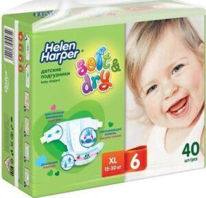 Helen Harper подгузники Детские Soft&Dry XL №6 (15-30кг) 40шт