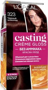 Loreal Paris Casting Creme Gloss краска-уход для волос без Аммиака №323 Чёрный шоколад 180мл