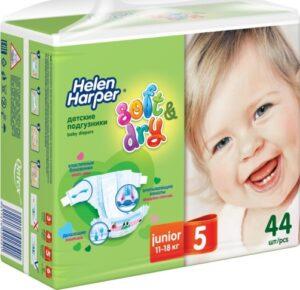 Helen Harper подгузники Детские Soft&Dry Junior №5 (11-18кг) 44шт