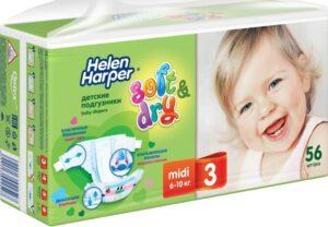 Helen Harper подгузники Детские Soft&Dry Midi №3 (6-10кг) 56шт