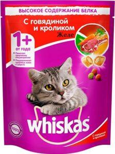 Whiskas кошачий корм с Говядиной и Кроликом в желе 85гр