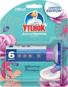 Туалетный Утёнок диски чистоты Цветочная фантазия 6 дисков 38гр