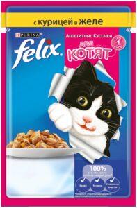 Felix кошачий корм для Котят с Курицей в желе 85гр