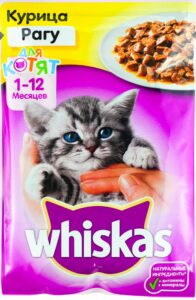 Whiskas кошачий корм для Котят с Курицей в рагу 85гр